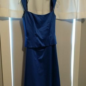 Sapphire blue bridesmaids/prom two piece dress